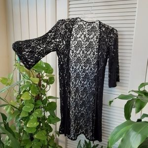 Black lace knit Open Cover up